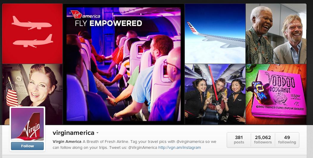 Virgin America's profile on Instagram.