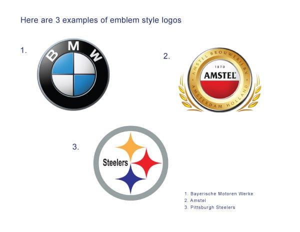 Examples of emblem logos.