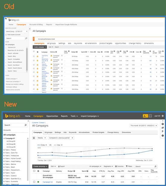 Bing Ads Interface Comparison