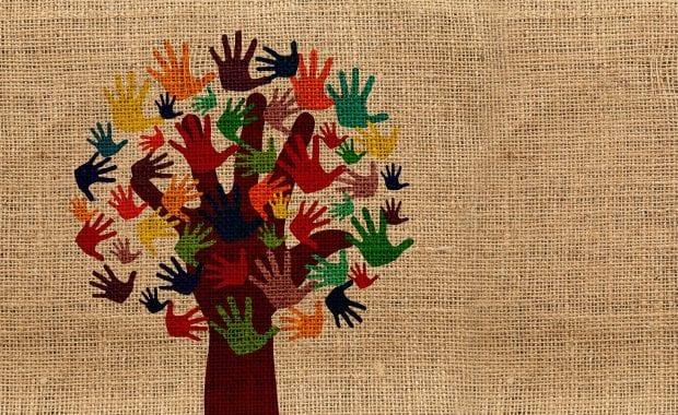 Volunteering hands tree graphic