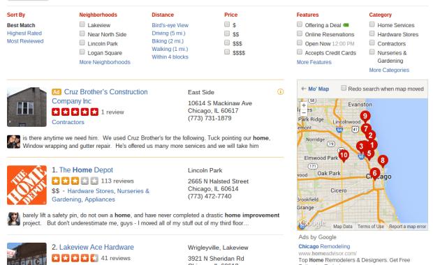 Yelp Home Improvement Reviews