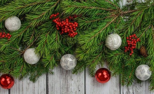 Christmas Ornaments on Fence