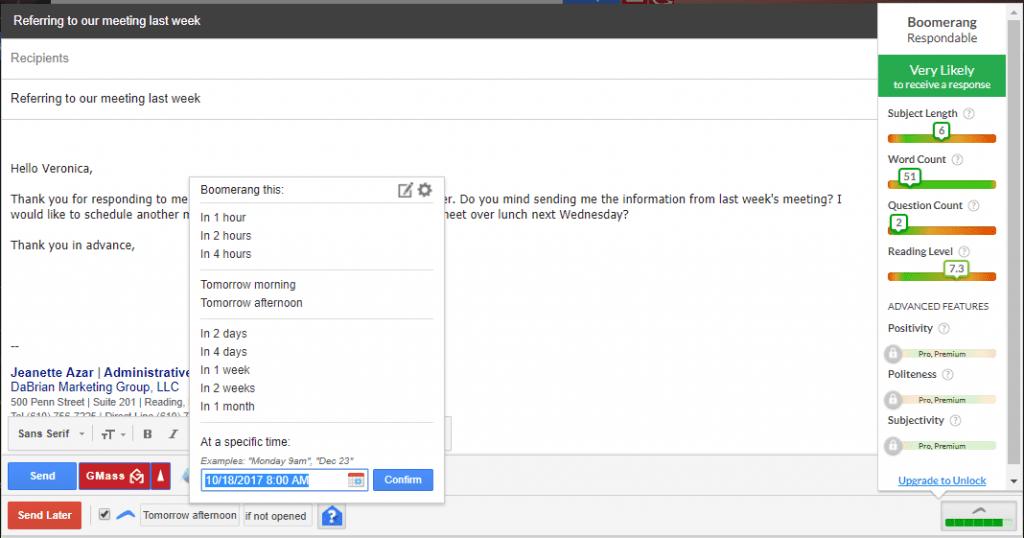 Gmail Boomerang