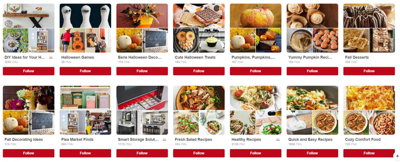 Pinterest Boards - Social Media Marketing